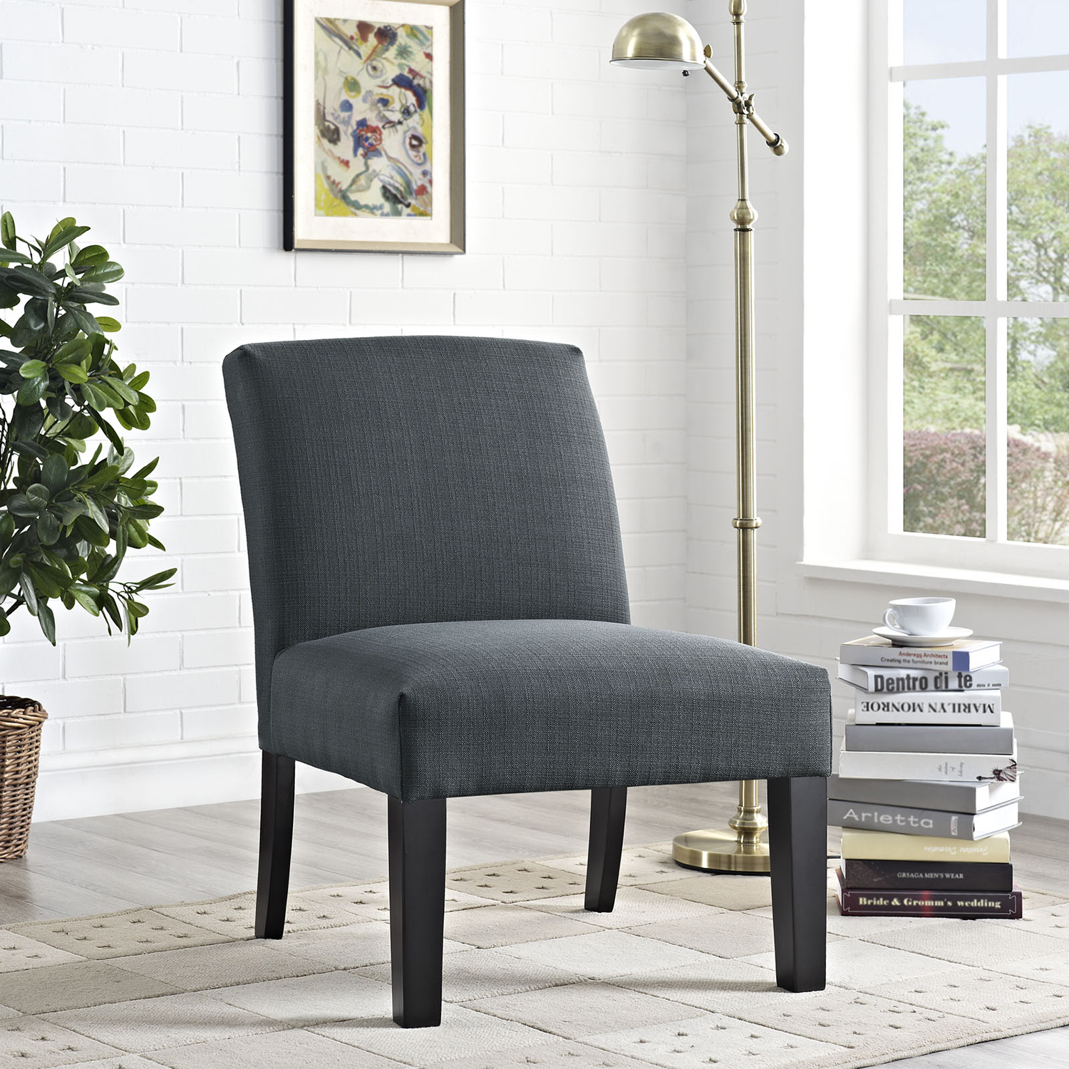 Auteur Fabric Accent Chair - Wood Legs, Gray - EEI-1401-GRY