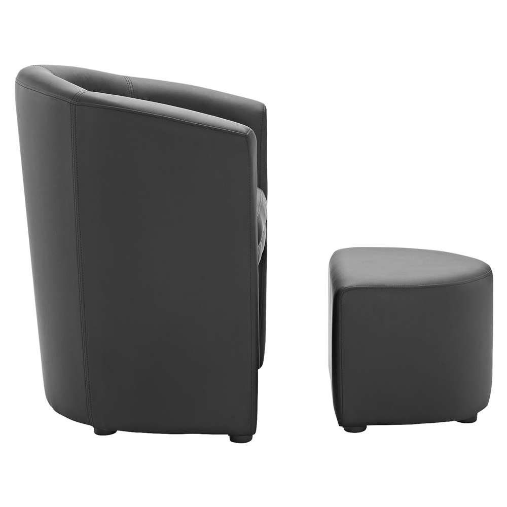 Divulge Leatherette Armchair And Ottoman Black Dcg Stores