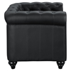 Earl Leatherette Armchair - Button Tufted, Black - EEI-1409-BLK