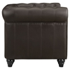 Earl Leatherette Armchair - Button Tufted, Brown - EEI-1409-BRN