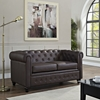 Earl Leatherette Loveseat - Button Tufted, Brown - EEI-1411-BRN