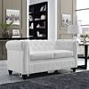 Earl Leatherette Loveseat - Button Tufted, White - EEI-1411-WHI