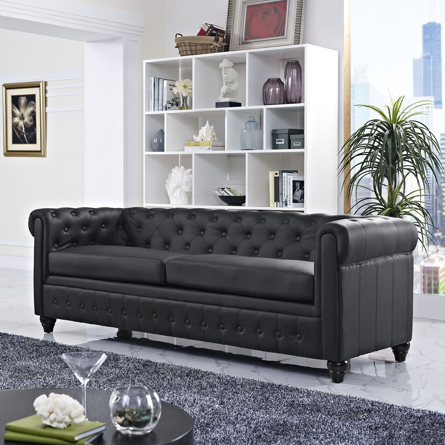 Earl Leatherette Sofa - Button Tufted, Black - EEI-1413-BLK