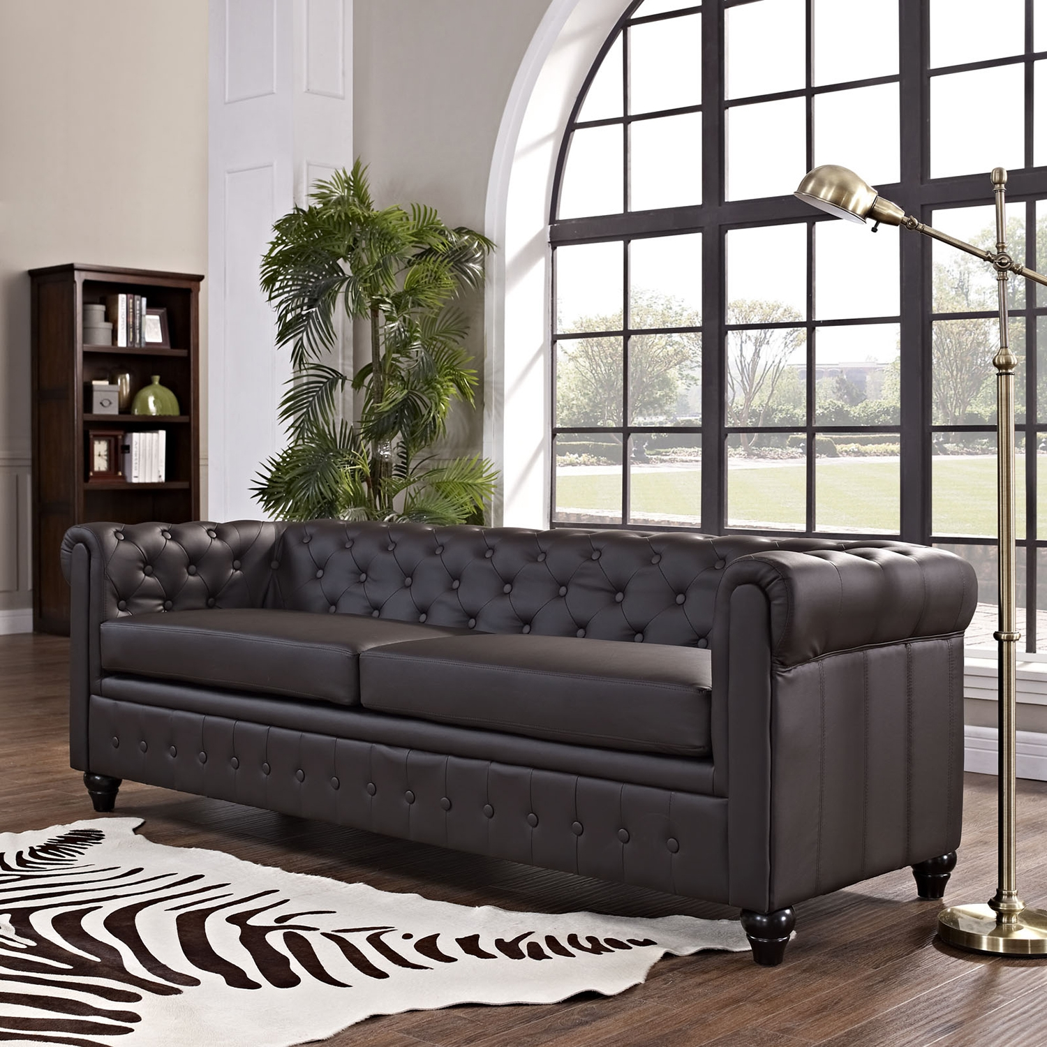 Earl Leatherette Sofa - Button Tufted, Brown - EEI-1413-BRN