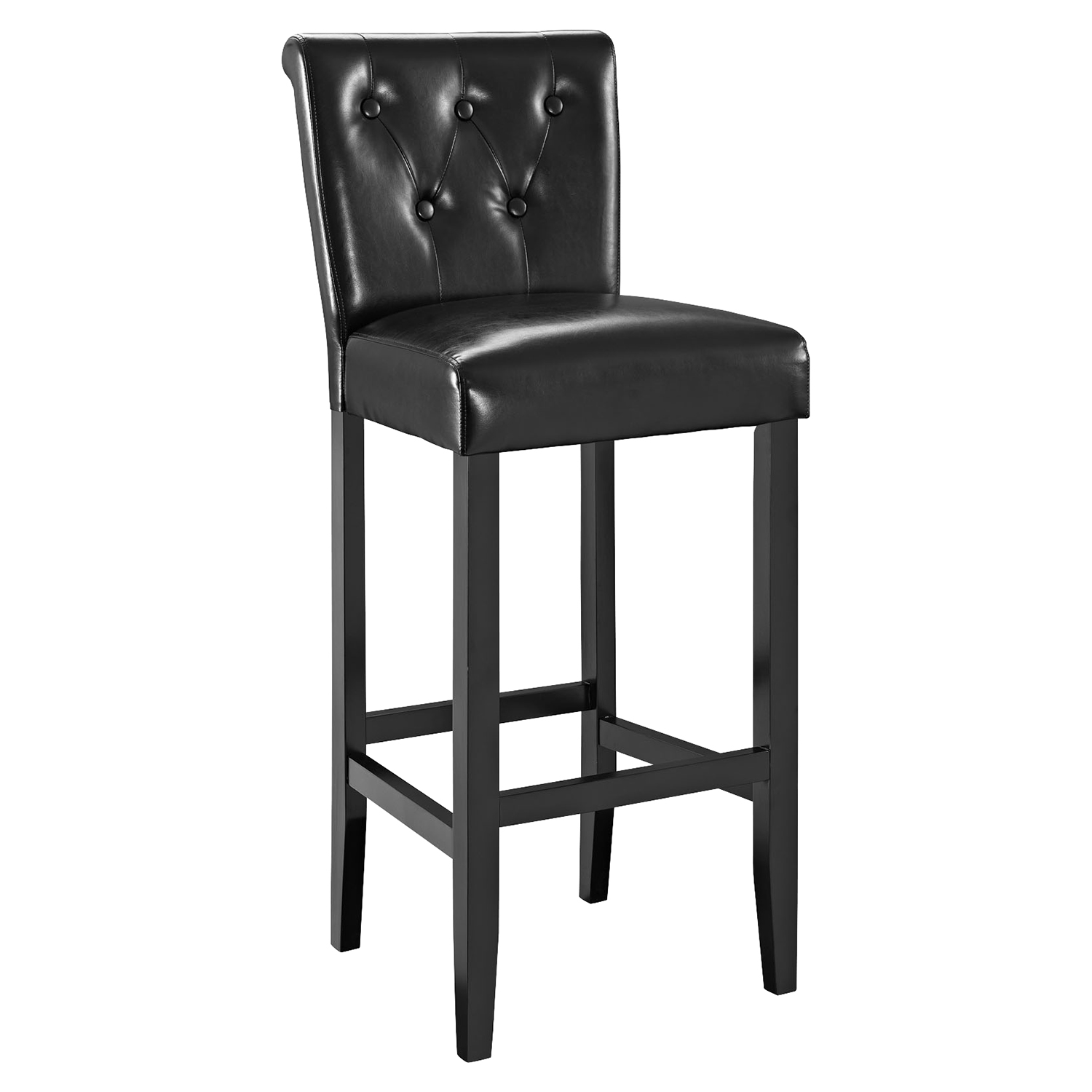 Tender Backrest Bar Stool - Button Tufted, Black - EEI-1415-BLK