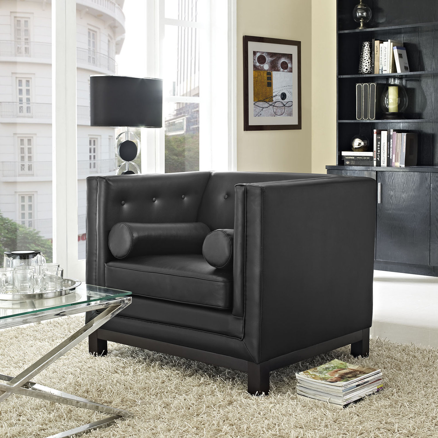 Imperial Bonded Leather Armchair - Button Tufted, Black - EEI-1420-BLK