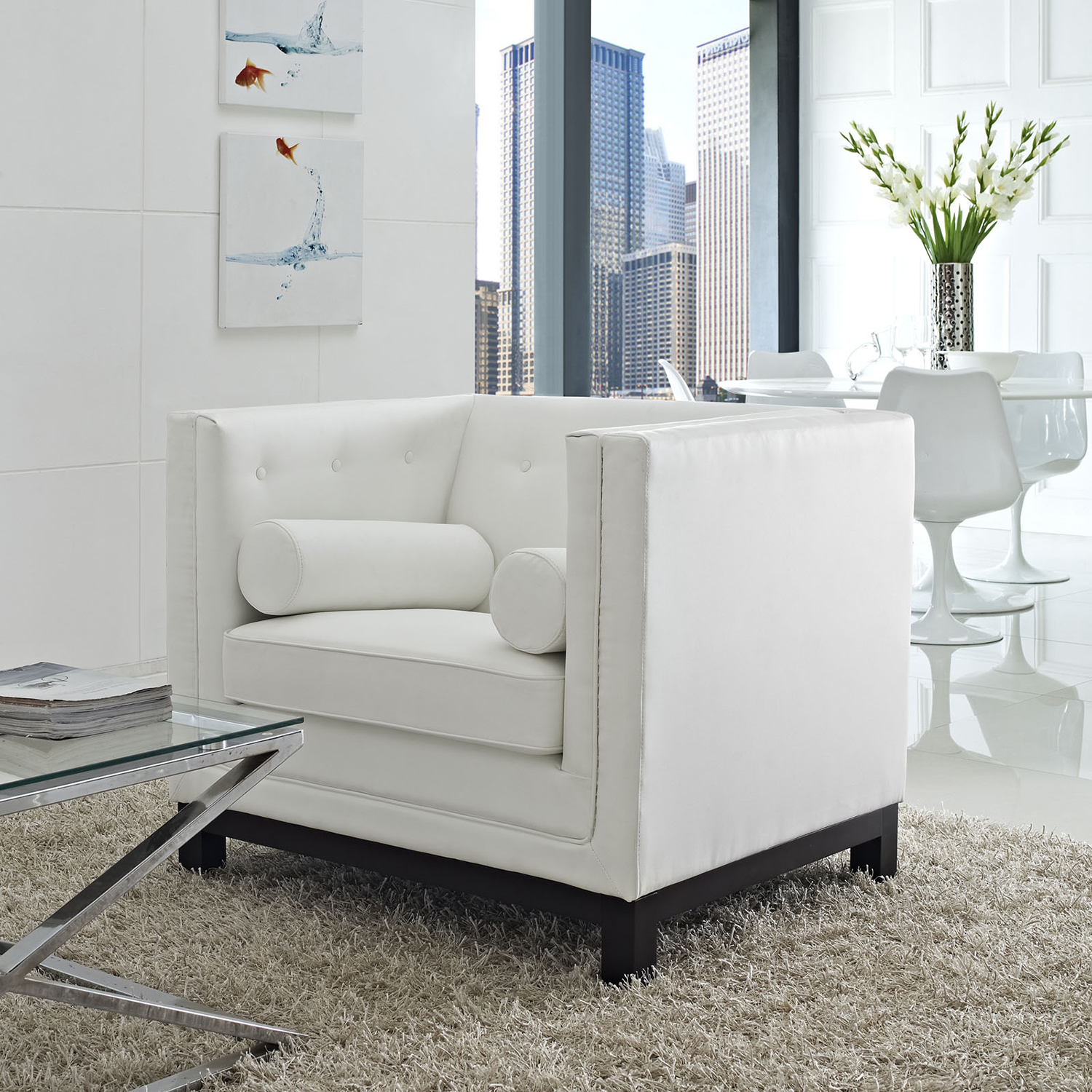 Imperial Bonded Leather Armchair - Button Tufted, White - EEI-1420-WHI