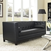 Imperial Bonded Leather Sofa - Button Tufted, Black - EEI-1421-BLK