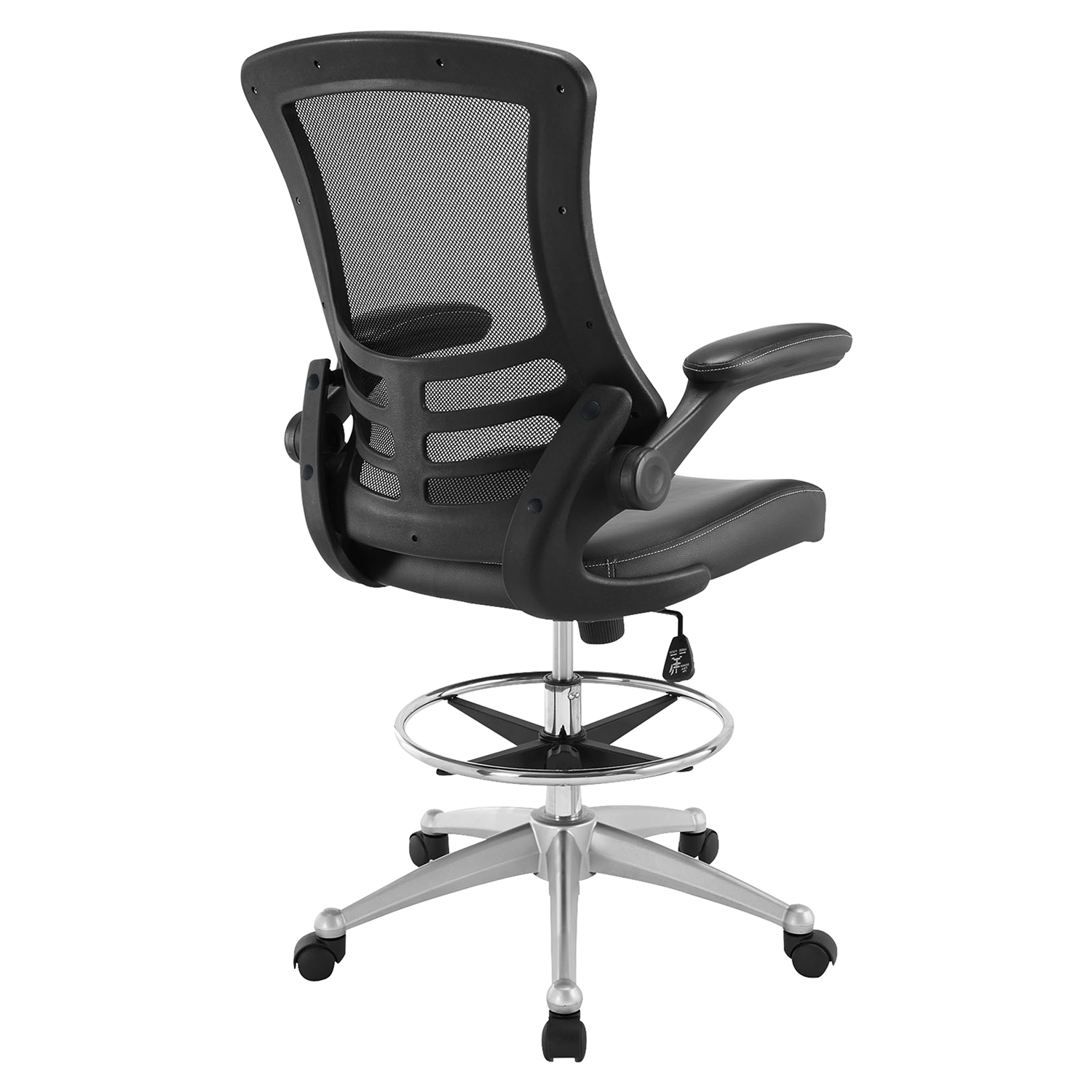Attainment Leatherette Drafting Stool - Adjustable Seat, Swivel, Black - EEI-1422-BLK