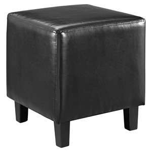 Lodge Leatherette Ottoman - Black