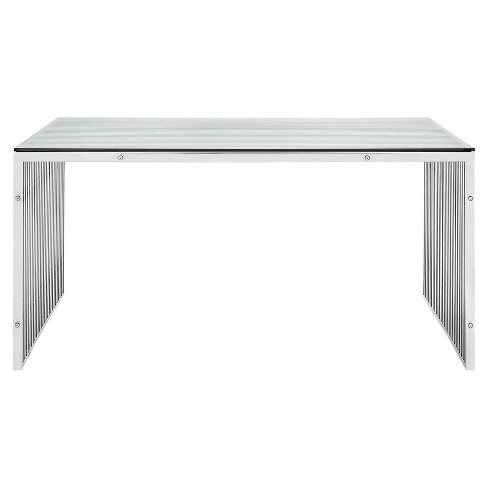 Gridiron stainless steel dining table rectangular dcg for Stainless steel dining table