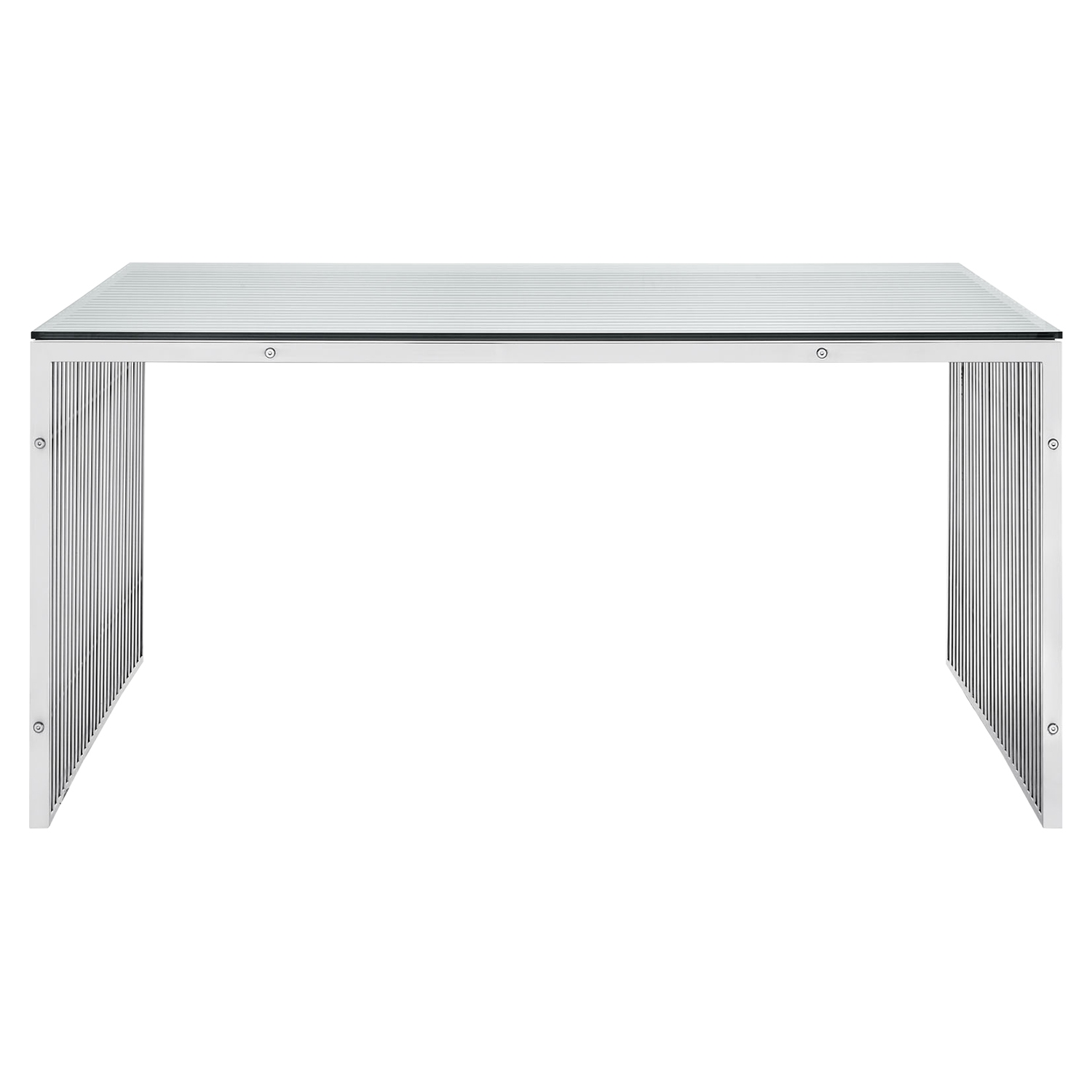 Gridiron Stainless Steel Dining Table - Rectangular - EEI-1433-SLV