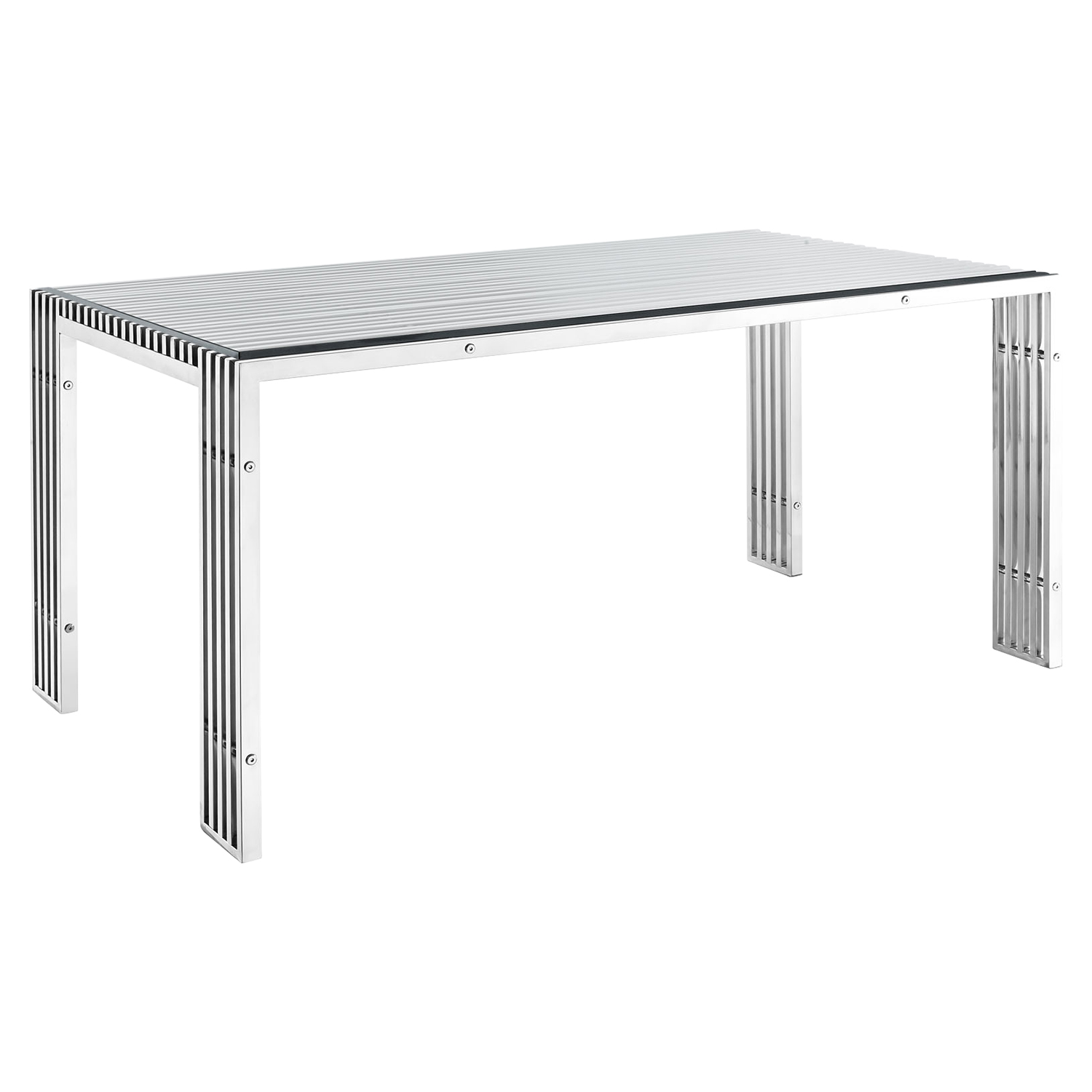 Gridiron Stainless Steel Dining Table - EEI-1434-SLV