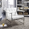 Serene Stainless Steel Lounge Chair - Leatherette, Button Tufted, White - EEI-1435-WHI