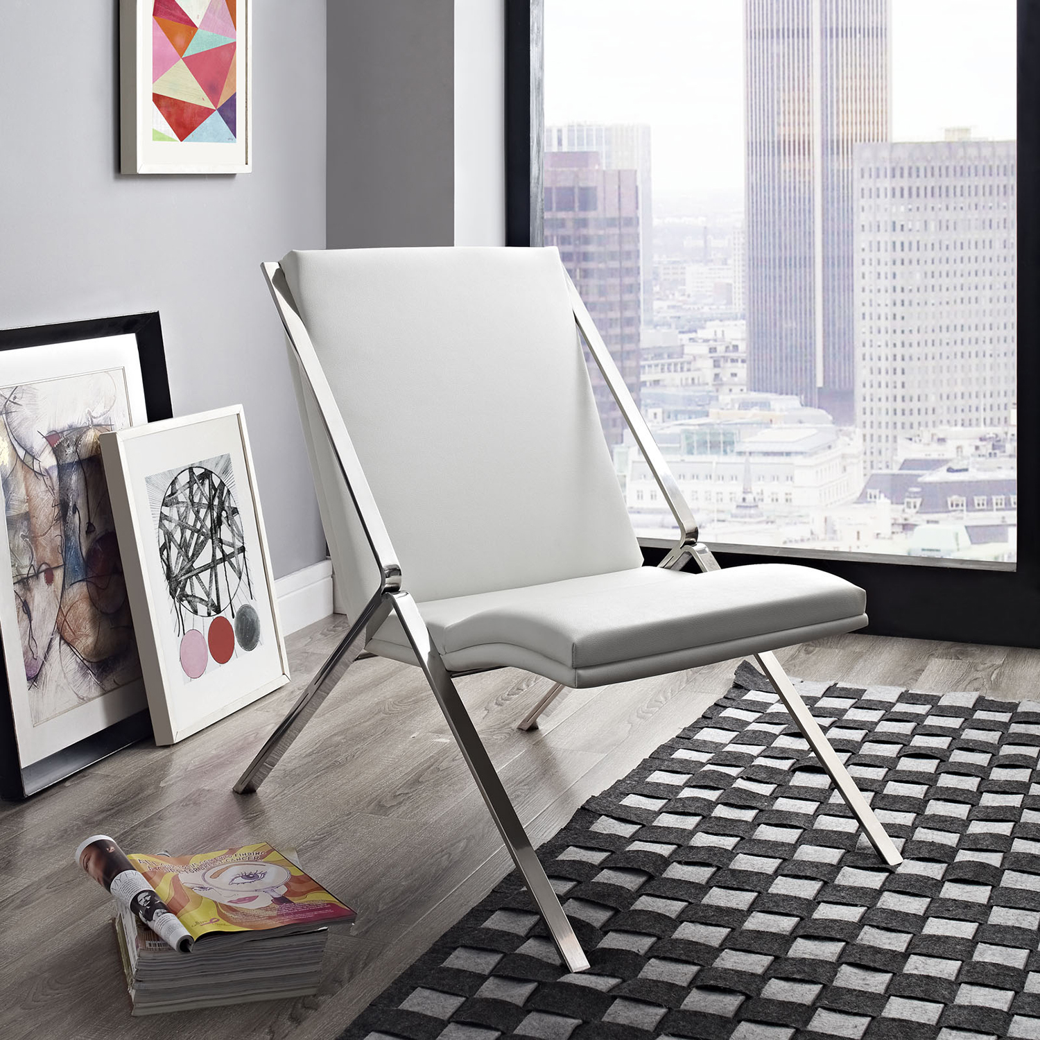 Swing Leatherette Lounge Chair - White - EEI-1436-WHI