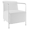 Ebb Leatherette Lounge Chair - White - EEI-1439-WHI