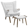Bear Ottoman and Lounge Chair - Button Tufted, Walnut White - EEI-1444-WAL-WHI-SET
