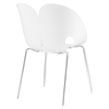 Envelope Dining Side Chair - White, Metal Legs - EEI-1452-WHI