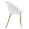 Envelope Dining Side Chair - White, Wood Legs - EEI-1453-WHI