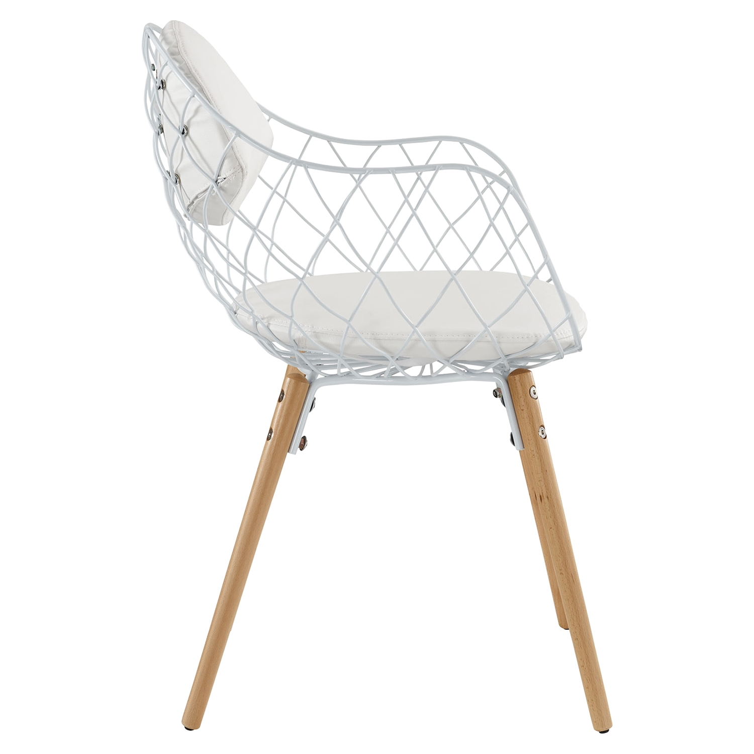 Basket Metal Dining Armchair - White - EEI-1465-WHI-WHI