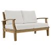 Marina 7 Pieces Outdoor Patio Teak Sofa Set - Natural, White - EEI-1486-NAT-WHI-SET
