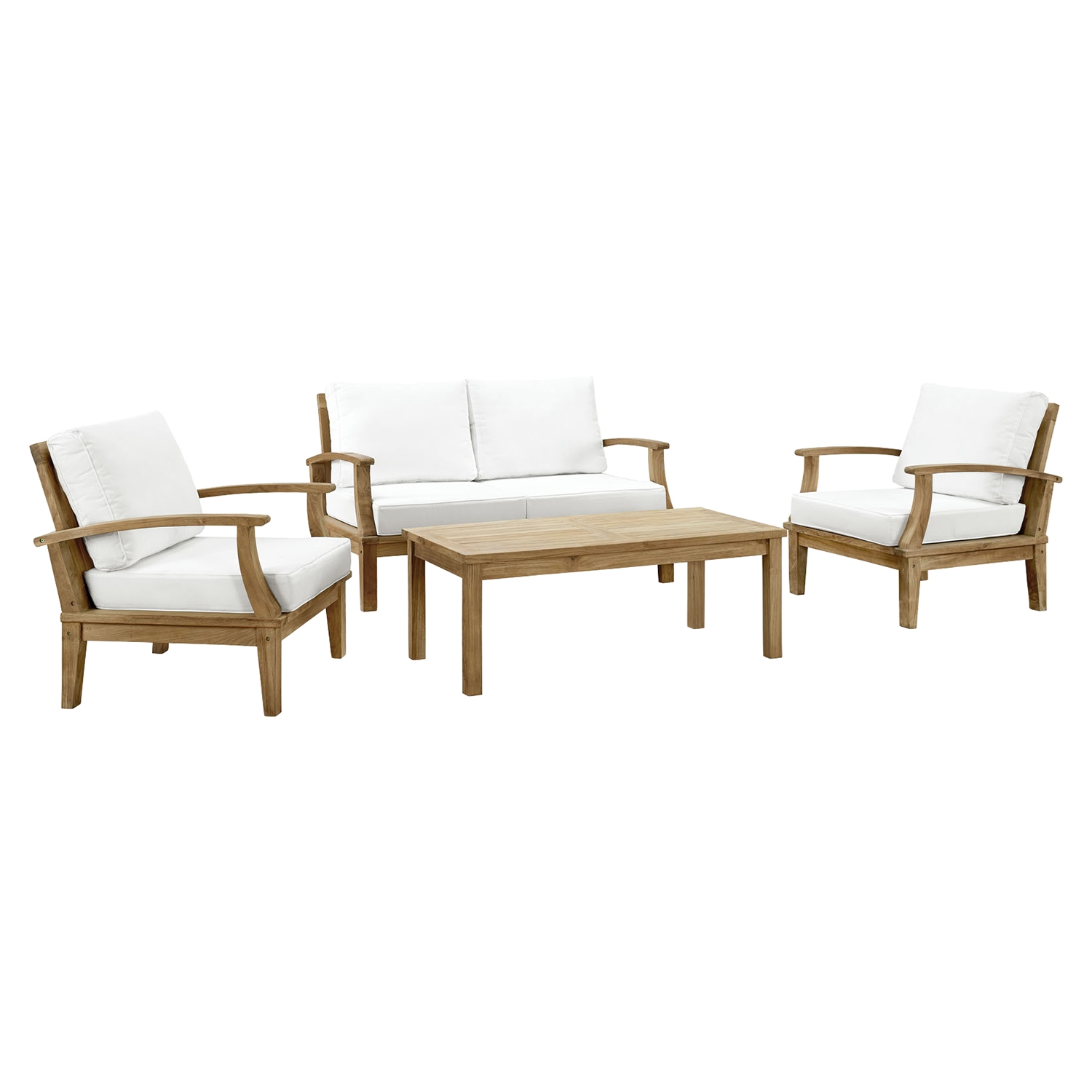 Marina 4 Pieces Outdoor Patio Sofa Set - White, Natural Frame - EEI-1469-NAT-WHI-SET