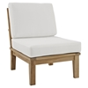 Marina 2 Pieces Outdoor Patio Teak Armless Chair - Natural White - EEI-1821-NAT-WHI-SET