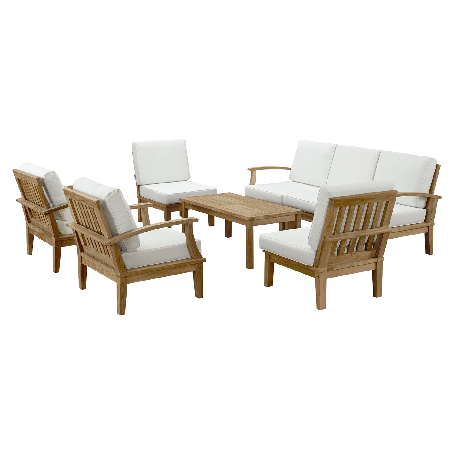 Marina 8 Pieces Patio Teak Sofa Set - Natural Frame, White - EEI-1479-NAT-WHI-SET