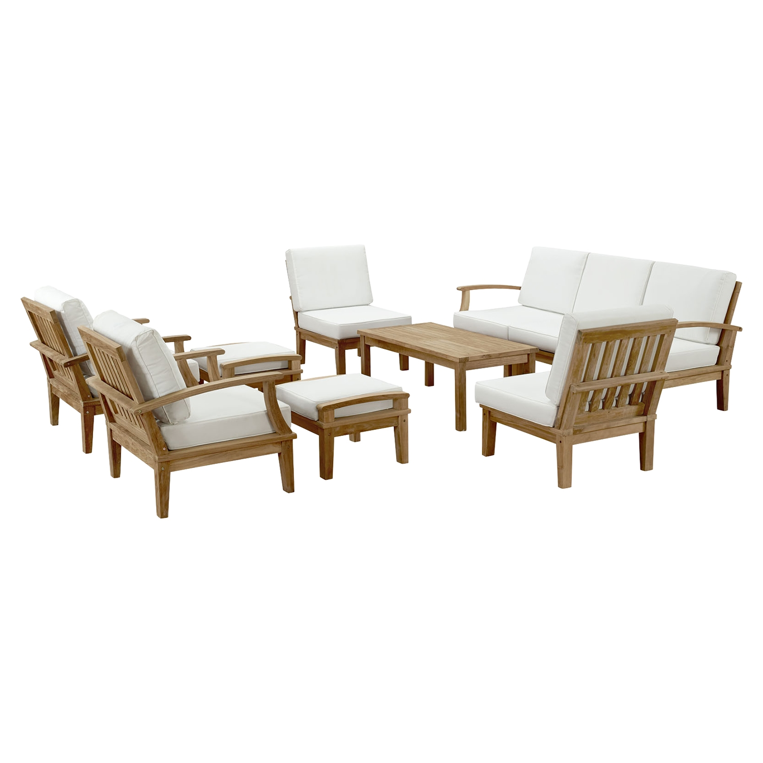 Marina 10 Pieces Patio Teak Sofa Set - Natural, White - EEI-1480-NAT-WHI-SET