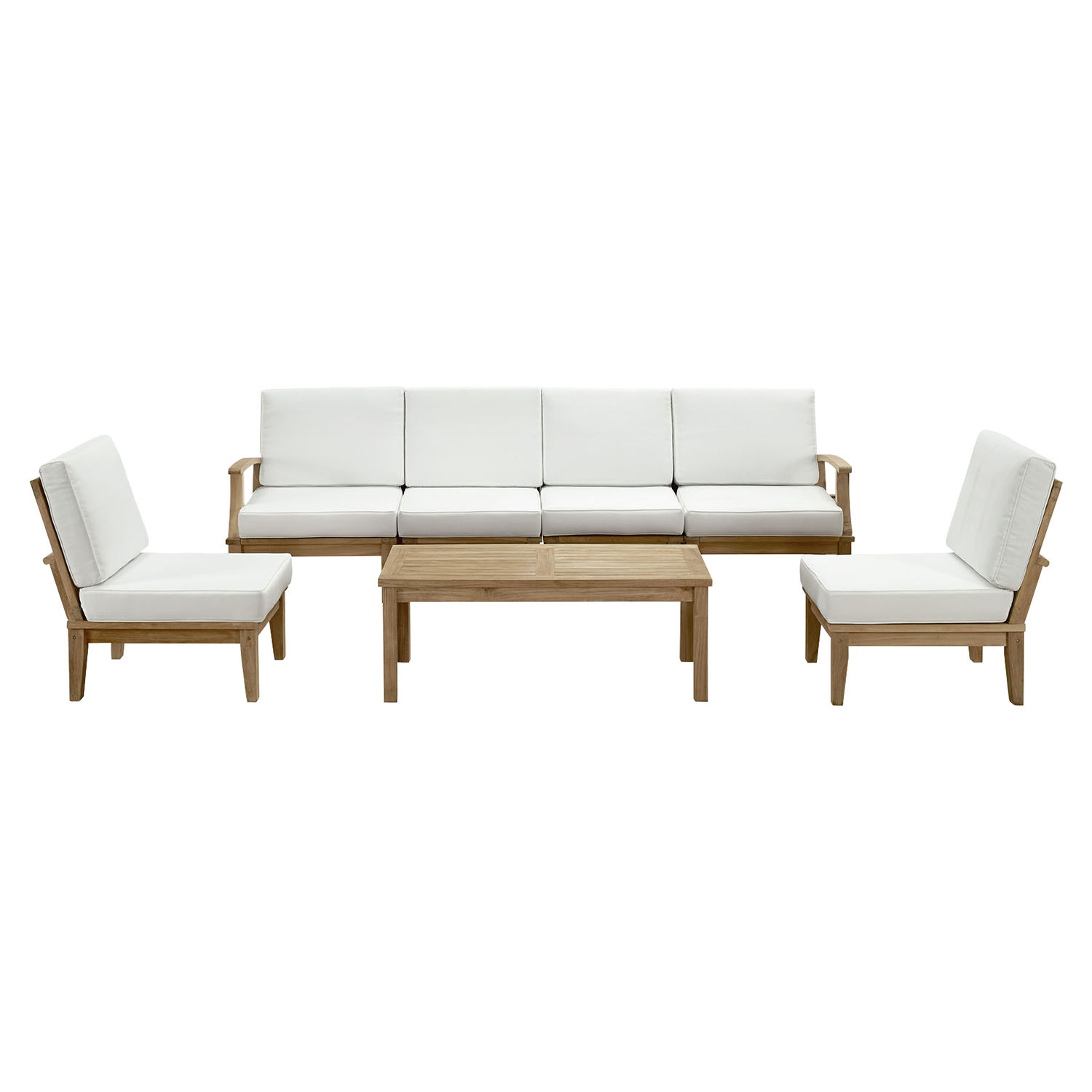 Marina 7 Pieces Patio Teak Sofa Set - Natural Frame, White - EEI-1481-NAT-WHI-SET