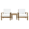 Marina 3 Pieces Outdoor Patio Teak Armchair and Table - White - EEI-1487-NAT-WHI-SET