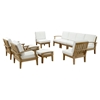 Marina 10 Pieces Outdoor Patio Teak Sofa Set - Natural Frame, White - EEI-1489-NAT-WHI-SET