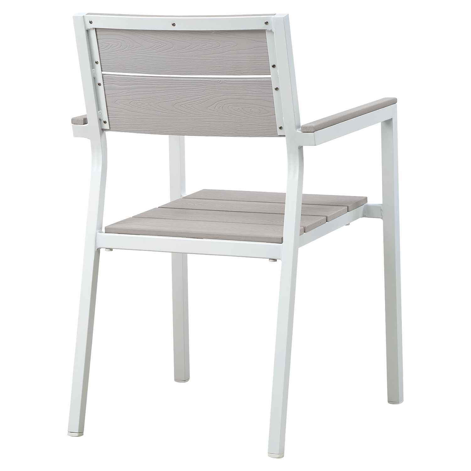"Maine 5 Pieces 63"" Outdoor Patio Set - White, Light Gray - EEI-1747-WHI-LGR-SET"