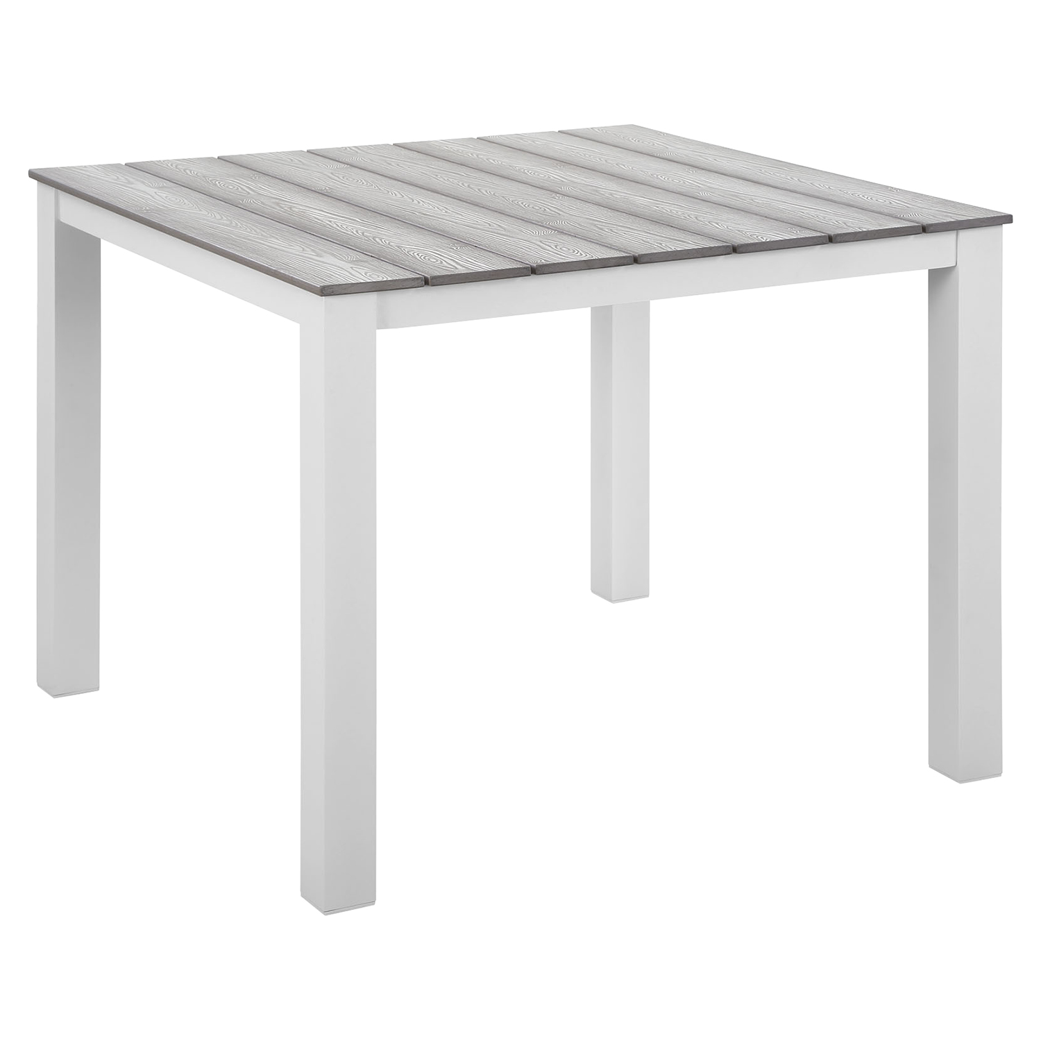 "Maine 40"" Outdoor Patio Dining Table - White, Light Gray - EEI-1507-WHI-LGR"