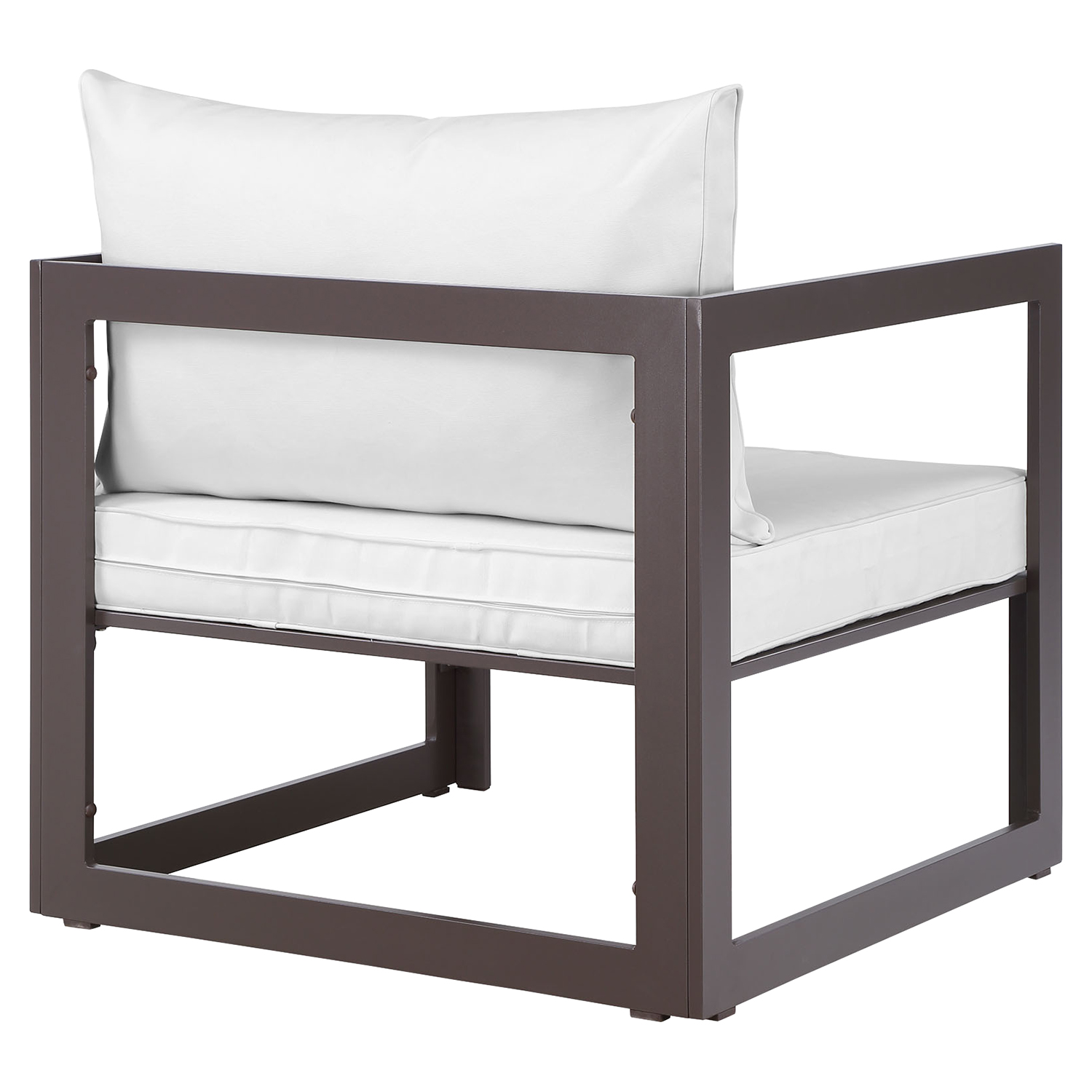 Fortuna Outdoor Patio Armchair - Brown Frame, White Cushion - EEI-1517-BRN-WHI