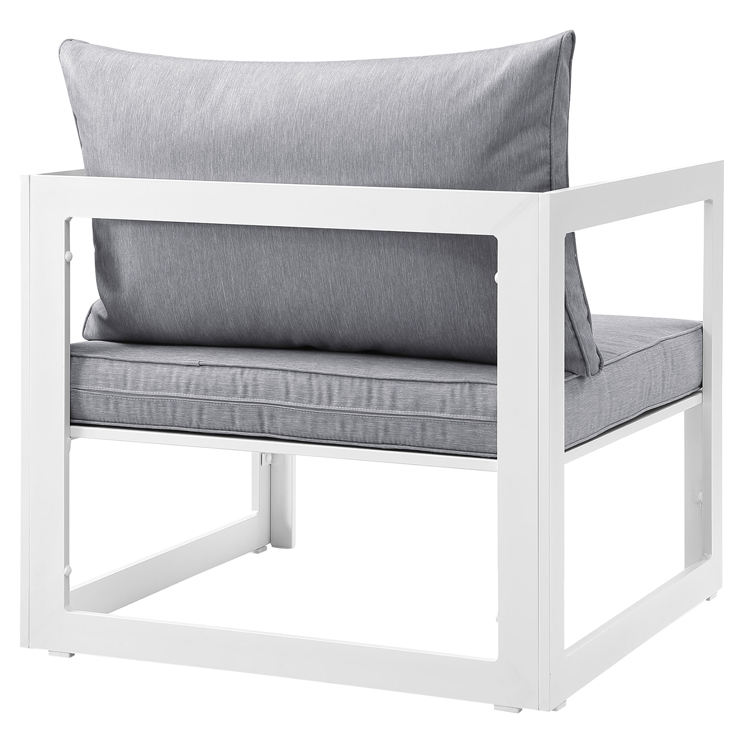 Fortuna Outdoor Patio Armchair - White Frame, Gray Cushion - EEI-1517-WHI-GRY