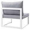 Fortuna Armless Outdoor Patio Chair - White Frame, Gray Cushion - EEI-1520-WHI-GRY