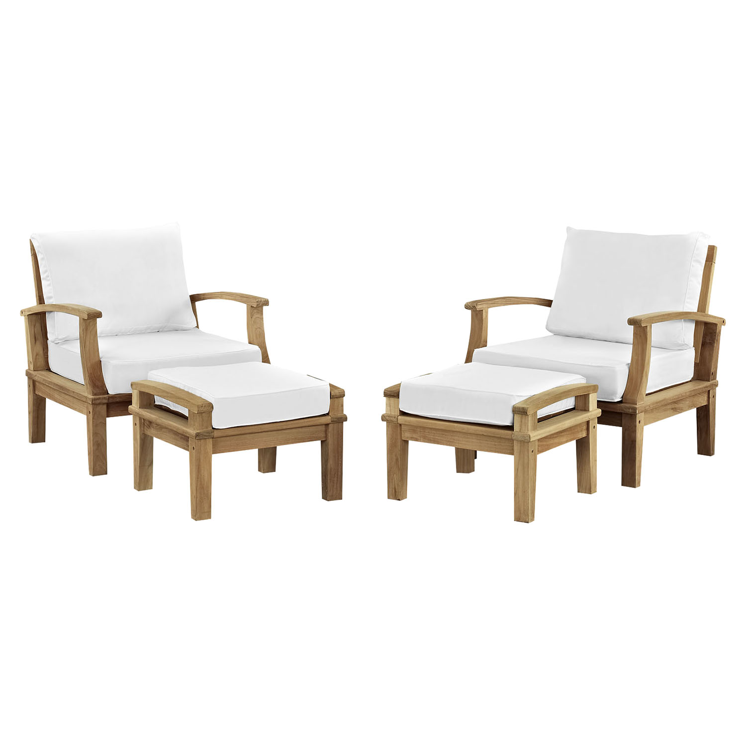 Marina 4 Pieces Patio Teak Sofa Set - White, Natural Frame - EEI-1537-NAT-WHI-SET
