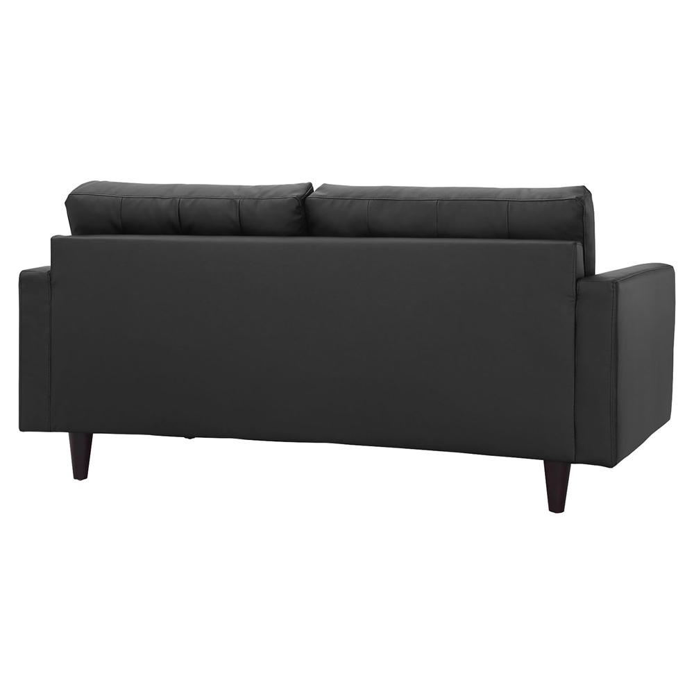 Empress Bonded Leather Loveseat Button Tufted Black