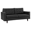 Empress Bonded Leather Loveseat - Button Tufted, Black - EEI-1546-BLK