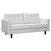 Empress Bonded Leather Loveseat - Button Tufted, White - EEI-1546-WHI