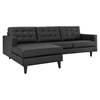 Empress Left Facing Bonded Leather Sectional Sofa - Button Tufted, Black - EEI-1548-BLK