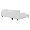 Empress Left Facing Bonded Leather Sectional Sofa - Button Tufted, White - EEI-1548-WHI