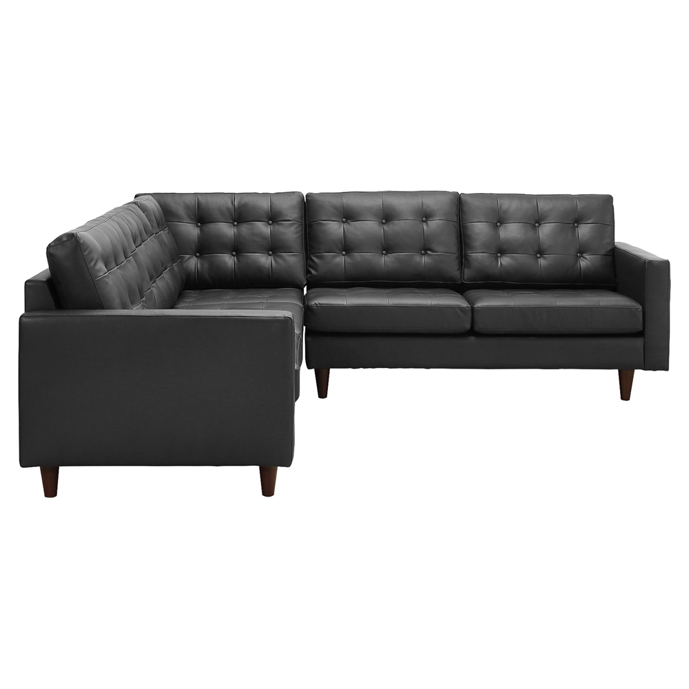 Empress 3 pieces bonded leather sectional sofa button for 3 pieces sectional sofa