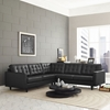 Empress 3 Pieces Bonded Leather Sectional Sofa - Button Tufted, Black - EEI-1549-BLK
