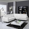 Empress 3 Pieces Bonded Leather Sectional Sofa - Button Tufted, White - EEI-1549-WHI