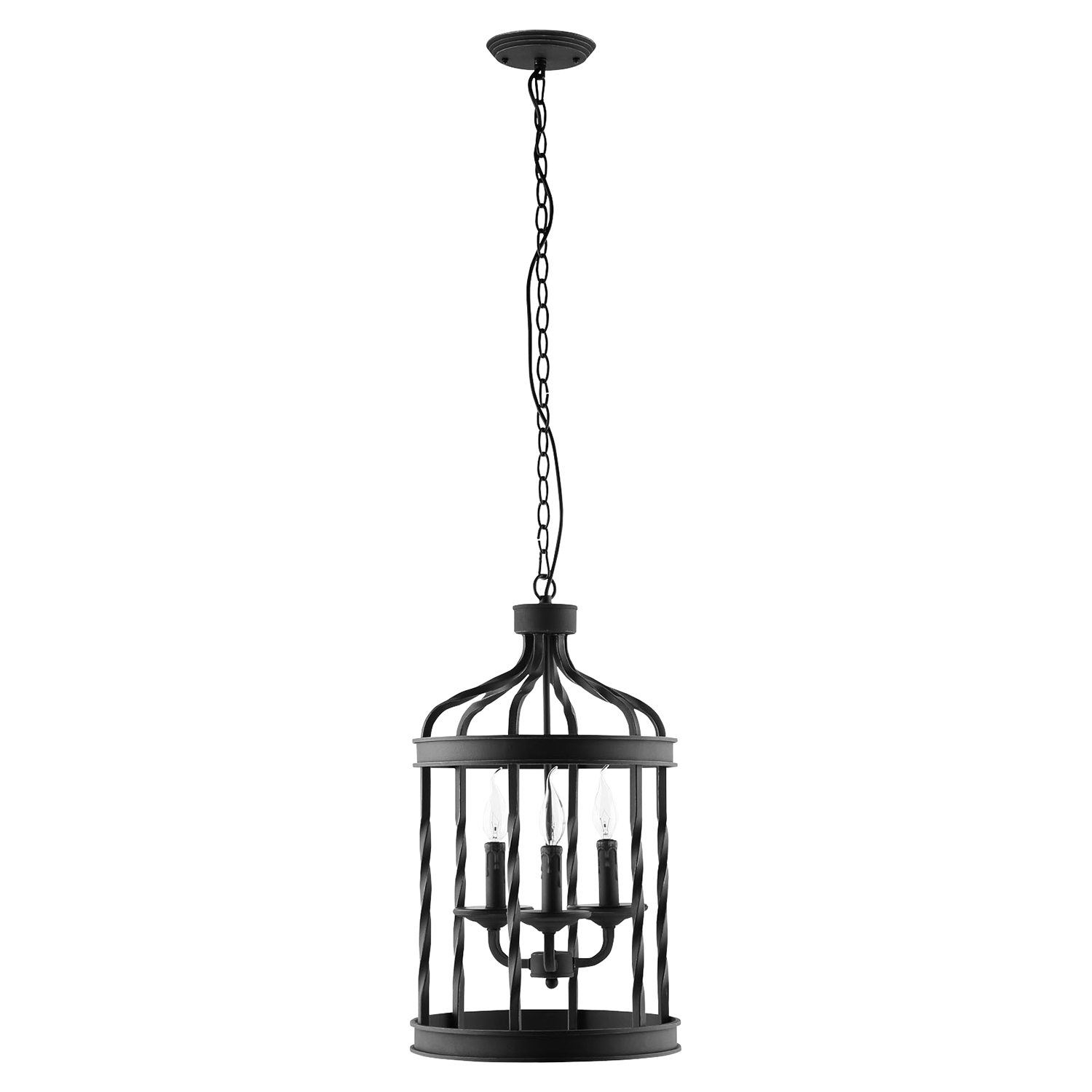 Lantern Metal Chandelier Black