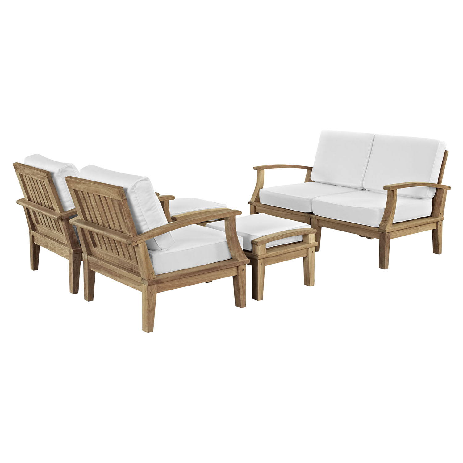 Marina 6 Pieces Patio Teak Sofa Set - Natural, White - EEI-1597-NAT-WHI-SET