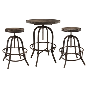 Gather 3 Pieces Dining Set - Backless, Brown