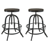 Collect Bar Stool - Backless, Wood Top, Black (Set of 2) - EEI-1603-BLK-SET